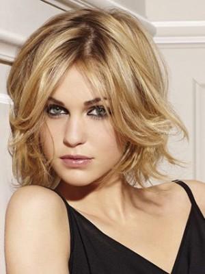 Perruque Blonde Ondulée De Cheveux Naturels