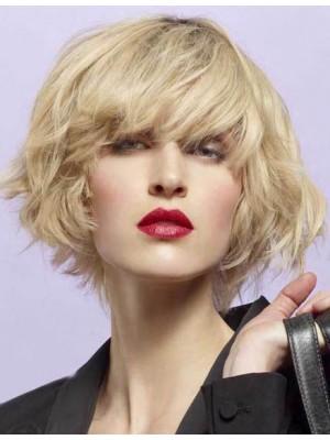 Perruque Lace Front Courte Ondulée De Cheveux Naturels
