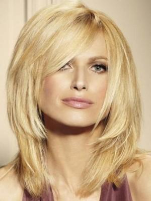 Perruque Blonde Multicouche Mi-Longue De Cheveux Naturels