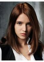 Perruque Mi-Longue Lace Front De Cheveux Naturels