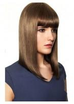Perruque Soyeuse Lisse Mi-Longue De Cheveux Naturels