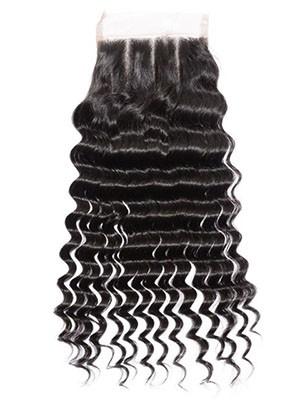 Closure 3-Part Frisée 100% Cheveux Humains Lace