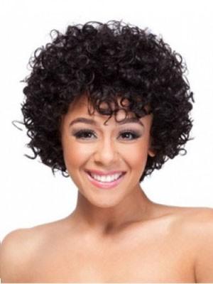 Perruque Afro-Américaine Mi-Longue Classique Frisée