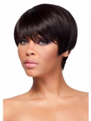 Perruque Afro-Américaine Courte Lisse De Cheveux Naturels