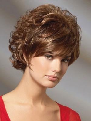 Perruque Classique Courte Ondulée De Cheveux Naturels
