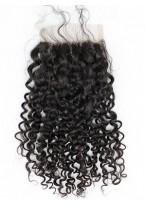 Closure Trois-Part Frisée Naturelle Noire Cheveux Humains Lace