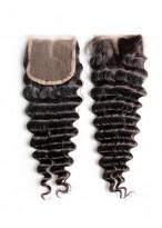 Closure Cheveux Humains Frisée Part Centrale Lace