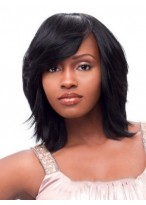Perruque Afro-Américaine Mi-Longue Avec Pleine Frange