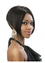 Perruque Courte Lisse Full Lace Afro-Américaine