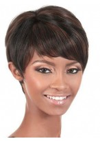 Perruque Attrayante Lisse Courte Capless Cheveux Naturels
