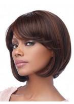 Perruque Confortable Mi-Longue Lisse Capless Cheveux Naturels