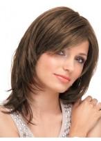 Perruque Naturelle Lisse Lace Front Mi-Longue De Cheveux Naturels