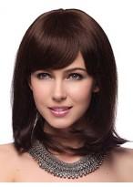 Perruque Mi-Longue Capless Lisse De Cheveux Naturels