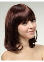Perruque Élégante Ondulée Mi-Longuede Cheveux Naturels