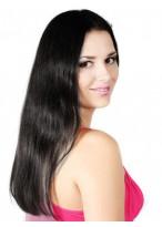 Perruque Mi-Longue Lace Front Lisse De Cheveux Naturels