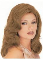 Perruque Mi-Longue Lace Front Ondulée De Cheveux Naturels