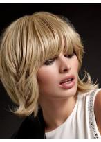 Perruque Capless Mi-Longue De Cheveux Naturels