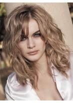 Perruque Cheveux Naturels Mi-Longue Lace Front Ondulée Confortable