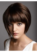 Perruque Cheveux Naturels Courte Capless Lisse Magnifique