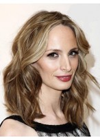 Perruque Cheveux Naturels Mi-Longue Lace Front Ondulée Glamoureuse