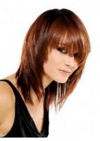 Perruque Cheveux Naturels Mi-Longue Capless Lisse Charmante