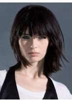 Perruque Cheveux Naturels Capless Lisse Mi-Longue Confortable
