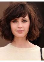 Perruque Cheveux Naturels Capless Ondulée Mi-Longue Avec Glamour