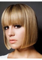 Perruque Moderne Lisse Cheveux Humains Capless