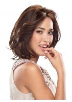 Perruque Lace Front Mi-Longue De Style Bob Et De Cheveux Naturels