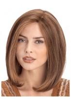 Perruque Mi-Longue Lisse Lace Front De Cheveux Naturels