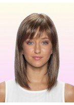 Perruque Mi-Longue Chic Lace Front De Cheveux Naturels