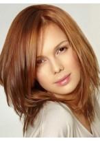 Perruque Lisse Mi-Longue Lace Front De Cheveux Naturels