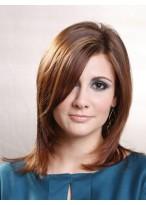Perruque Brune Mi-Longue Avec Frange De Côté De Cheveux Naturels